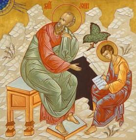 Icon of St. John and St. Prochorus. By NN (Russische Ikone) (Ökumenisches Heiligenlexikon (public domain)) [Public domain], via Wikimedia Commons